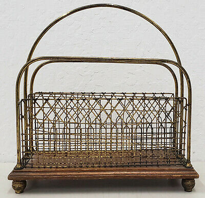 Late 19th to Early 20th Century Oak and Brass Magazine Rack