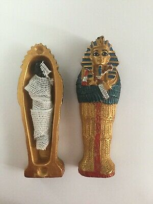 Rare Vintage King Tut Ankh Amoun Colorful Golden Wood Coffin Hand Carved N Egypt