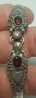 Antique Chinese Export Sterling Silver Ornate Ruby Garnet Double Dragon Bracelet