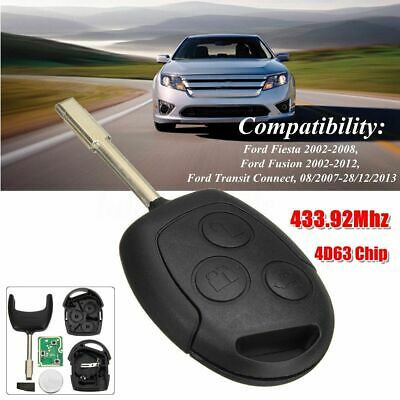 3 Button Remote Key Fob 433.92Mhz 4D63 Chip For Ford Fiesta Mk6 Fusion