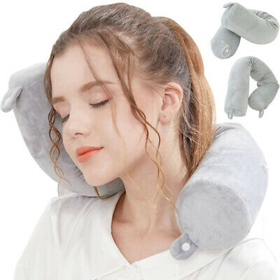 Grey Memory U-shaped Travel Pillow Neck Adjustable Bendable Roll Head Support AU