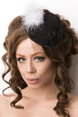 Mini Hat Fascinator in Black Made of Felt with Feather in White and Net Carnival