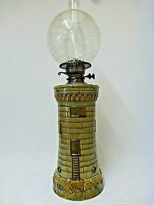 Unusual Victorian Lighthouse Form Stoneware Oil Lamp