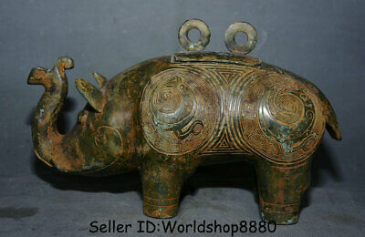 "11.2"" Old China ancient Bronze Ware Dynasty Animal Elephant Zun Drinking Vessel"