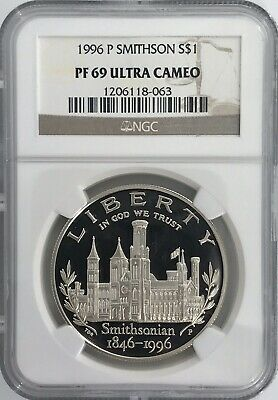 1996-P SMITHSONIAN INSTITUTION SILVER PROOF $1 NGC PF69 ULTRA CAMEO