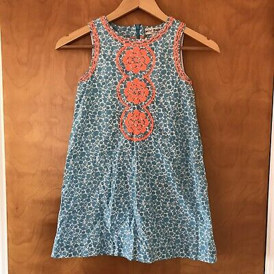 Mini Boden Embroidered Shift Dress In Blue Bali Bollywood Beach Girls 7 8
