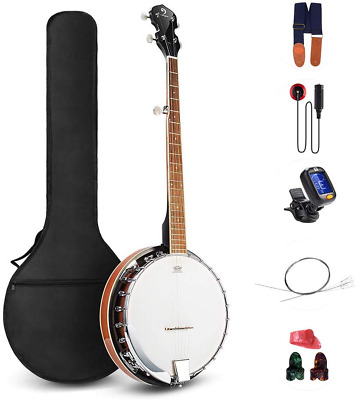 Vangoa 5 String Banjo Remo Head Closed Solid Back with beginner Kit, Tuner, Stra