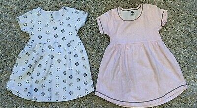 Two Yoga Sprout Toddler Girls 100% Cotton Dresses 3T Pink White