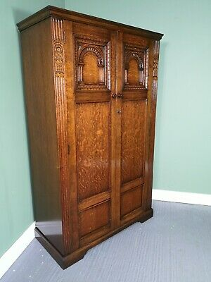 An Antique 20th Century Carved Oak Double Wardrobe ~Delivery Available~