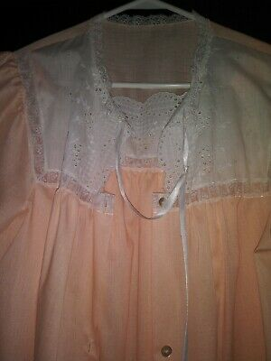 Vtg Silky Sissy Eyelet Lace Freebust Babydoll Gown Robe Peignoir Cotton Sears 46