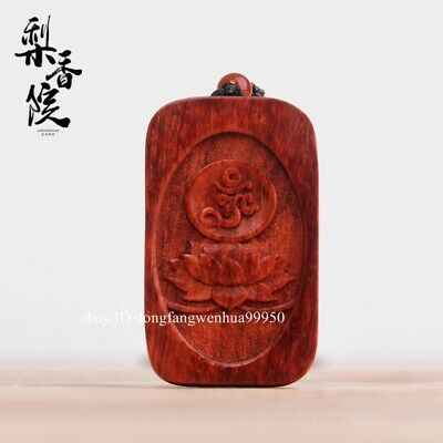 Red Sandalwood Six words of truth lotus flower lucky Necklace Amulet Pendant