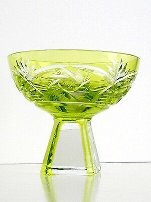 1 Bohemian Chech Lime Reseda Cased Cut To Clear Lead Crystal Salt Celler Cordial