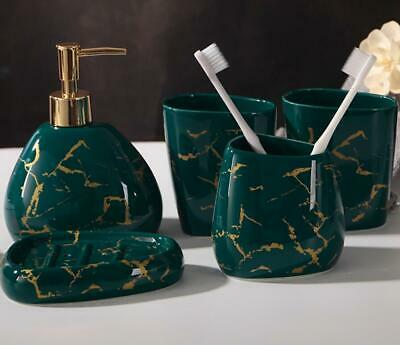5pcs Ceramic Black or Green Bath Accessory Set Soap Dispenser Toothbrush Holder