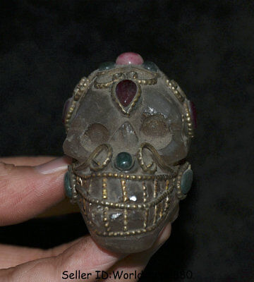 """2.8"""" Collect Antique Tibet Crystal Silver Inlay Gem skeleton Skull Head Statue"""