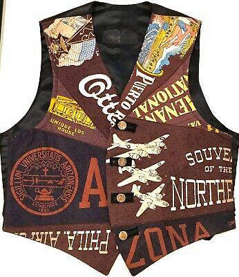 Vintage Winky & Dutch Vest made Antique Pennants - Upcycled Arizona Airplanes