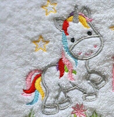 Personalised baby gift, towel with name & unicorn design, baby shower gift