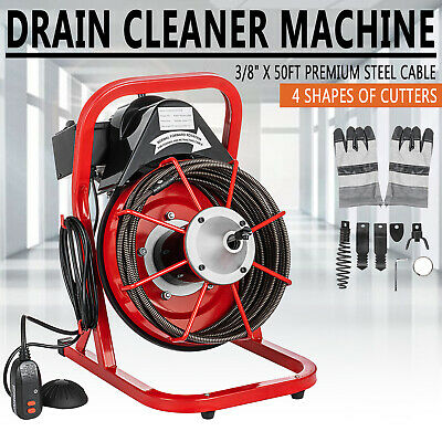 "50Ft 3/8"" Commercial Drain Cleaner Cleaning Machine Snake Sewer Plumbing Tool"