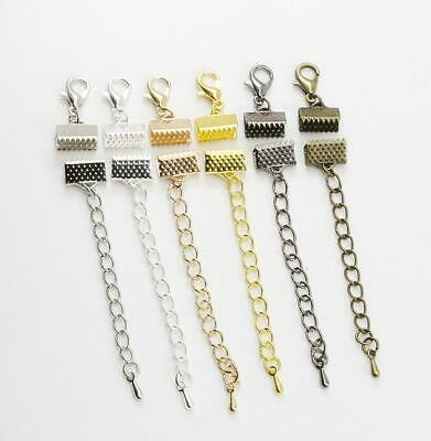 10pcs lobster buckle extension chain leather cord clip DIY jewelry accessories