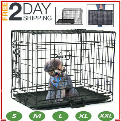 Dog Cage Pet Puppy Crate Carrier Home Folding Door Training Kennel S M L XL XXL