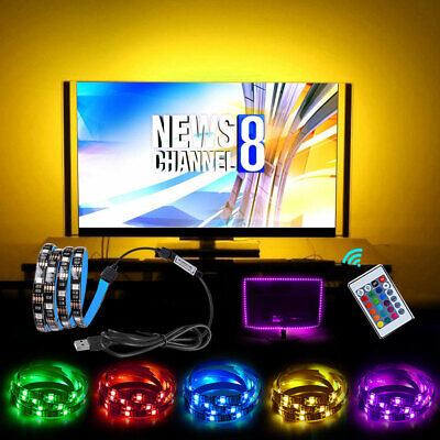 LED Strip Lights 2M USB Changing TV Backlight 5050 RGB Colour Remote Control