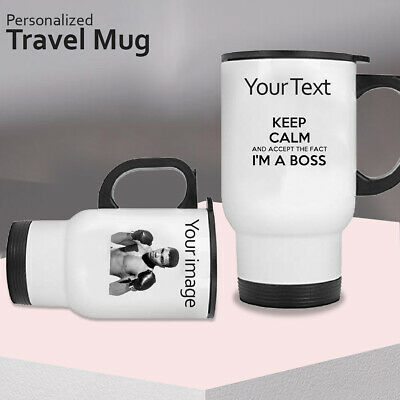 Personalised Thermal Travel Mug Custom Cup Flask Birthday Gift Coffee Photo