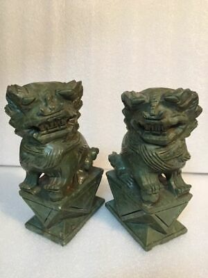 Antique Pair Foo Fu Dogs Lions Carved Hard Stone Dark Olive Green - # C 9