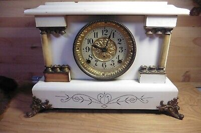 Rare Antique Seth Thomas Mantle Clock Brass Lion corner legs some bakelite RARE