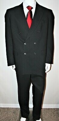 Vito Rufolo Men's 44 L Black Double Breasted 6 Button 2 Piece Suit 100% Wool
