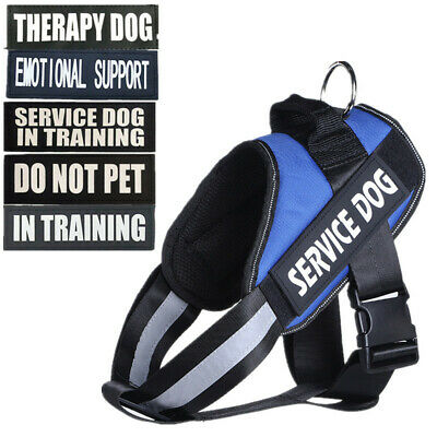 Service Dog Vest Harness Removable Patches ESA THERAPY DOG - 4 colors, 5 sizes