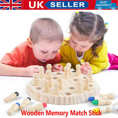 Wooden Memory Match Stick Chess Game Early Educational Learning Puzzle Toy UK