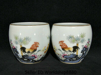 "3.4"" Yongzheng Marked China Dynasty Famille Rose Porcelain Rooster Cock Cup Pair"