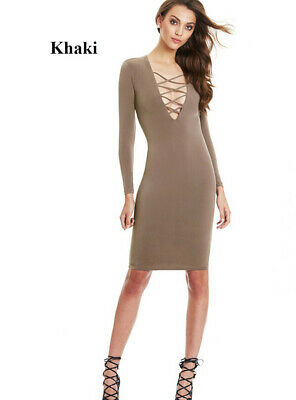 Lady Sexy Dress Knee Length Party Evening Cocktail Long Sleeve Bodycon Stretch