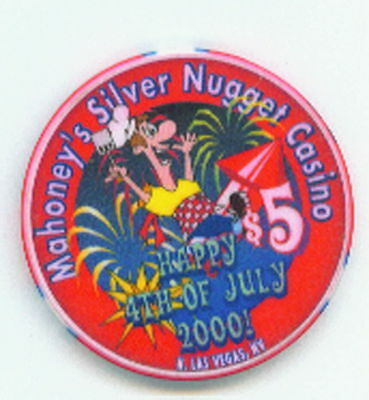 $5 Mahoneys Silver Nugget 2000 4Th Of July Chip