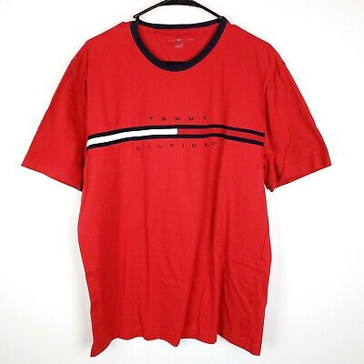 Tommy Hilfiger Mens T-Shirt Big Logo Short Sleeve Graphic Tee Flag Crew Neck