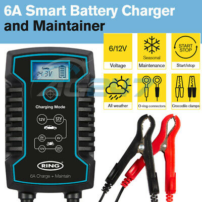 Ring RSC806 12v 6A Car Motorbikes Maintenance Start/Stop Smart Battery Charger