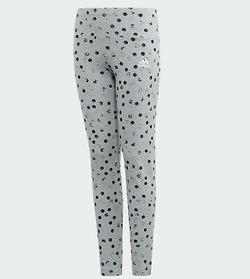 Girls Adidas Leggings Must Haves Graphic grey polka dot kids age 9 - 14 NEW