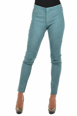DROME women Trousers Ocean Blue Stretch Leather Pants Size S Skinny New Blue ...