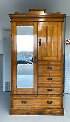 Maple & Co Antique Victorian Walnut Mirror Door Wardrobe/Hall Cupboard