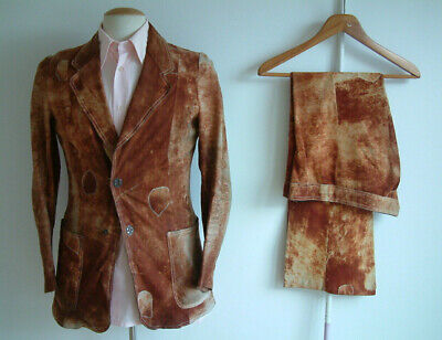 """1970s SUIT..FLARED..36"""" x 30""""..'LEATHER HAUTE COUTURE'..BOND STREET..SUEDE..RARE"""