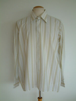 """1970's SHIRT..LARGE COLLARS..STRIPED PATTERN..17"""" / XL..MADE IN ENGLAND..70s"""