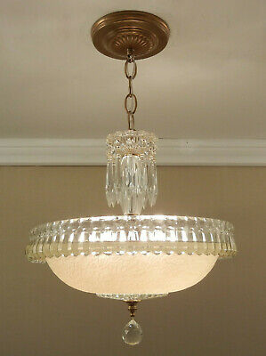 Vintage Antique 1930s Ceiling Light Lamp Glass Shade Fixture Crystal Chandelier