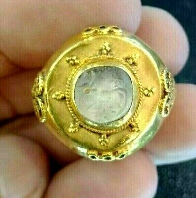 Ancient Roman Crystal Intaglio Deer Fawn Signet Seal Stamp Solid 22k Gold Ring