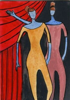 Abstract dancers Side Stage  original painting ACEO outsider art