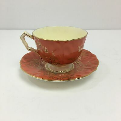 Vintage Aynsley Bone China England Tea Cup Teacup and Saucer Set Gold Peach Set