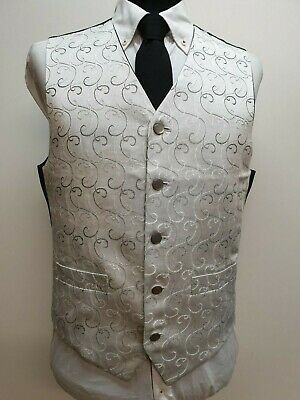 Silver Grey with Black Swirl Waistcoat Vest Wedding Mens and Page Boys UK A30