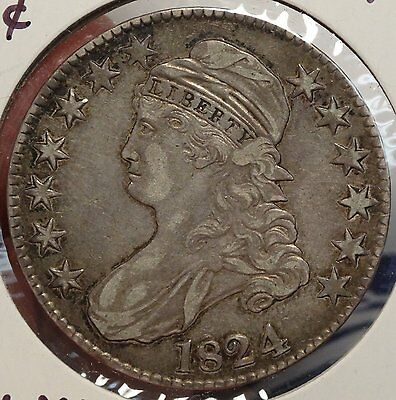 1824 Bust Half Dollar, Choice EF/AU, Original Coin  0224-15