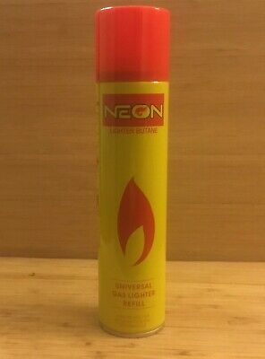 NEON ULTRA REFINED BUTANE GAS - FILTERED LIGHTER REFILL FUEL w/ 5 Adapters