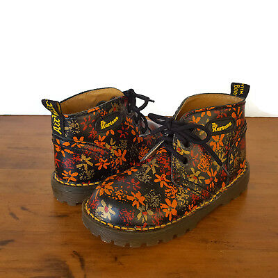 Dr Doc Martens Floral Kids Girls 10 11 Ankle Boots Airwair Black Shoes England