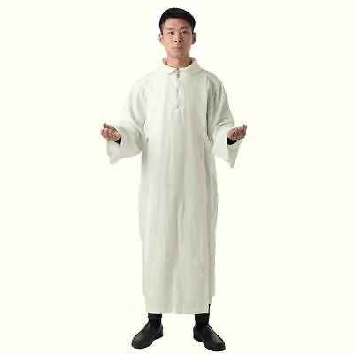 BLESSUME Catholic Church Alb with Pleats White  Worship Vestments Zipper Robe