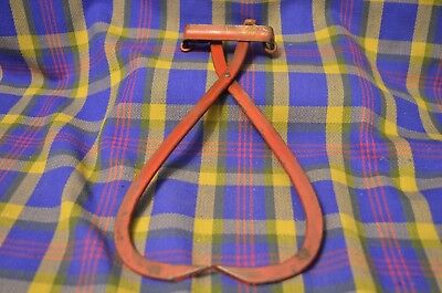 Vintage Red Metal ICE TONGS with Chain Handle-Home Décor-Cabin Décor